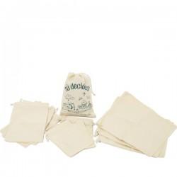 Set of reusable produce organic cotton bags