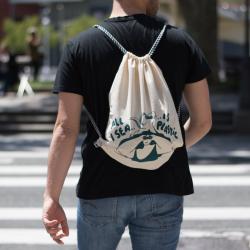 "Organic Cotton Rucksack ""All I sea is plastic"""