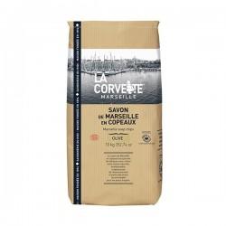 Saco kraft de copos de jabón de Marsella de aceite de oliva 10 Kg.