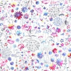 Tela de algodón orgánico estampado flores