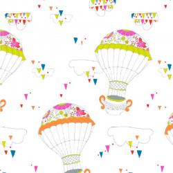 Organic cotton fabric hot-air ballons